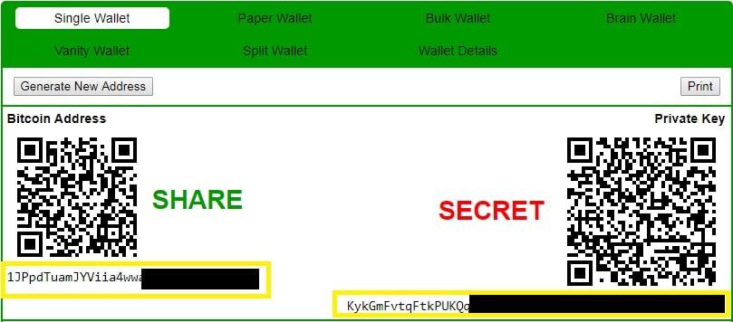 Zapisywanie klucza prywatnego do papierowego portfela Bitcoin
